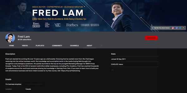 Fred Lam Youtube Channel