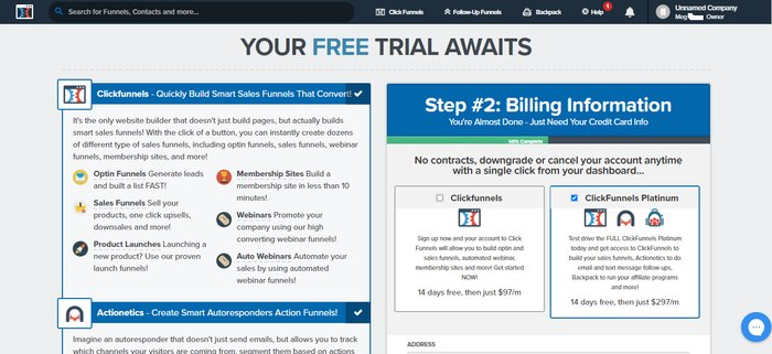 click funnels trial page