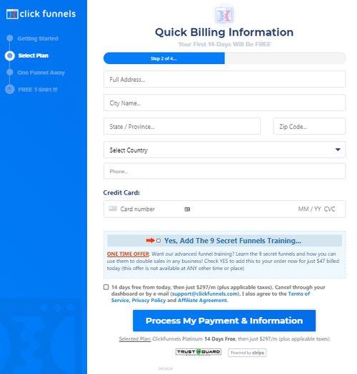 clickfunnels billing info